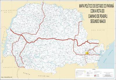 Mapa com o caminho do Peabiru sobre o Paraná