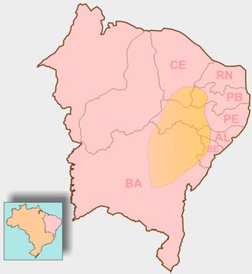 mapa que destaca o sert�o nordestino