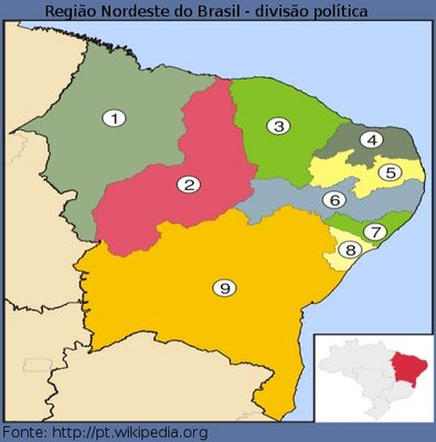 Mapa Político do Nordeste