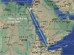 O Canal de Suez é um canal que liga Porto Said, um porto egípcio no Mar Mediterrâneo, a Suez, no Mar Vermelho. O canal possui a extensão de 163 quilômetros e permite que embarcações naveguem da Europa à Ásia sem terem que contornar a África pelo cabo da Boa Esperança. </br></br> Palavras-chave: Canal de Suez. Porto Said. Egito. Mar Vermelho. Europa. Ásia.
