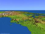 Imagem em 3D do Canal do Panamá. É um canal com 81 km de extensão, que corta o istmo do Panamá, ligando assim o Oceano Atlântico e o Oceano Pacífico, no Panamá. </br></br> Palavras-chave: Canal do Panamá. Istmo. Oceano Atlântico. Oceano Pacífico.