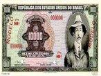 As cédulas circularam entre 1966 e 1975. A imagem de Santos Dumont estampava a nota 10.000 cruzeiros enquanto que a de 5.000 cruzeiros trazia a estampa de Tiradentes. </br></br> Palavras-chave: Moedas. Cédulas. Governo. Economia. Cruzeiro.
