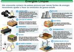 Conjunto de fontes energéticas alternativas às fontes tradicionais de energia, como o petróleo e o carvão mineral, ambos poluentes e não-renováveis. As energias limpas, como biomassa, energia solar, eólica e maremotriz, entre outras, representam um novo modelo de produção de energia mais econômica e ambientalmente correta. </br></br> Palavras-chave: Petróleo. Energia. Carvão mineral. Biomassa. Energia solar. Energia eólica.