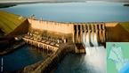 Usina Hidrelétrica de Água Vermelha ou Usina Hidrelétrica José Ermirio de Moraes, localizada entre os municípios de Iturama e Guarani D'Oeste. Teve sua construção iniciada em 1973, sendo concluída em 1979, com potência instalada de 1.396 MW.  </br></br>  Palavras-chave: Dimensão demográfica. socioambiental. Usina hidrelétrica. Energia elétrica. Água vermelha.