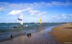 Vista das jangadas em Porto de Galinhas. Porto de Galinhas é uma conhecida praia do nordeste brasileiro. Sua fama se deve, principalmente, às belezas naturais: piscinas de águas claras e mornas formadas entre corais, estuários, mangues, areia branca e coqueirais. Localizada em Ipojuca, a 70 quilômetros do Recife, é uma das praias mais visitadas do litoral nordestino.  </br></br>  Palavras-chave: Jangadas. Pescadores. Renda. Trabalho. Emprego. Economia. Pesca.