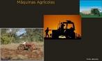 Implementos agrícolas, trator, colheitadeira, são utilizados no preparo da terra, desde o plantio até a colheita.  </br></br>  Palavras-chave: Dimensão econômica do espaço geográfico. Território. Lugar. País. Trator. Agricultura. Plantio. Mecanização. Exportação.