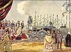 Pintura, inauguração do caminho-de-ferro em Portugal (28 de Outubro de 1856). Aguarela de Alfredo Roque Gameiro.  </br></br>  Palavras-chave: Território. Paisagem. Meios de transporte. Geopolítica. Dimensão socioambiental. Lugar. Região. Sociedade.