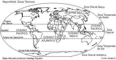 As Zonas t�rmicas da Terra s�o as faixas compreendidas entre as linhas dos Paralelos. Tamb�m conhecidas como Zonas clim�ticas, elas se dividem em: a) Zona Polar �rtica, entre o P�lo Norte e o C�rculo polar �rtico, b) Zona Temperada Norte entre o C�rculo polar �rtico e o Tr�pico de C�ncer, c) Zona Tropical entre o Tr�pico de C�ncer e o Tr�pico de Capric�rnio. d) Zona Temperada Sul entre o Tr�pico de Capric�rnio e o C�rculo Polar Ant�rtico, e) Zona Polar Ant�rtica, e) Zona Polar Ant�rtica entre o C�rculo Polar Ant�rtico e o P�lo Sul. </br></br> Palavras-chave: Mapa-M�ndi. Zonas Clim�ticas. Zonas T�rmicas. Dimens�o Socioambiental. Territ�rio. Regi�o. Lugar. Natureza. Clima.