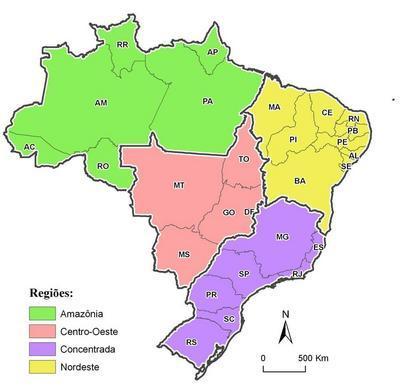 """O critério principal da regionalização proposta por Milton Santos e Maria Laura Silveira foi o """"meio técnico-científico-informacional"""", isto é, a informação e as finanças estão irradiadas de maneiras desiguais e distintas pelo território brasileiro, determinado """"quatro brasis"""":</br></br> Região Amazônica - inclui os estados do Amapá, Pará, Roraima, Amazonas, Acre e Rondônia. Baixas densidades técnicas e demográficas. Região Nordeste - inclui os estados do Maranhão, Piauí, Ceará, Rio grande do Norte, Paraíba, Pernambuco, Alagoas, Sergipe e Bahia. Primeira região a ser povoada, apresenta uma agricultura pouco mecanizada se comparada à Região Centro-Oeste e à região Concentrada. Região Centro-Oeste - inclui Goiás, Mato Grosso, Mato Grosso do sul e Tocantins,apresenta uma agricultura globalizada, isto é, moderna, mecanizada e produtiva. Região Concentrada - inclui Minas Gerais, São Paulo, Rio de Janeiro, Espírito Santo, Paraná, Santa Catarina e Rio Grande do Sul, é a região que concentra a maior população, as maiores indústrias, os principais portos, aeroportos, <em>shopping centers</em>, supermercados, as principais rodovias e infovias, as maiores cidades e universidades. Portanto, é a região que reúne os principais meios técnico-científicos e as finanças do país.</br></br>Palavras-chave: Milton Santos. Maria Laura Silveira. Quatro Brasis. Meio Técnico-Científico-Informacional. Economia. Desigualdade Social. Região Amazônica. Região Nordeste. Região Centro-Oeste. Região Concentrada."""