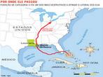 Mapa mostrando o percurso de destrui��o deixado pelo Furac�o Katrina, em Agosto de 2005, no litoral dos EUA. O furac�o foi classificado como 4 segundo a escala <em>Saffir-Simpson</em>. </br></br> Palavras-chave: Furac�o. Furac�o Katrina. Escala Saffir-Simpson. Litoral.