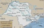 Mapa do estado S�o Paulo com seus principais rios. </br></br>Palavras-chave: Pol�tica. Espa�o Geogr�fico. Territ�rio. Lugar. Pa�s. Mapa. Hidrografia. S�o Paulo.