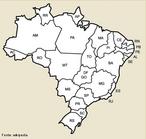 Mapa mudo do Brasil com a divis�o e as siglas dos estados.</br></br>Palavras-chave: Mapa. Brasil. Divis�o Pol�tica. Dimens�o Socioambiental. Lugar. Territ�rio. Regi�o. Dimens�o Econ�mica da Produ��o do e no Espa�o.