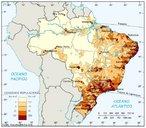 O mapa revela que a popula��o se distribui de forma bastante irregular no territ�rio brasileiro. As �reas pr�ximas ao litoral s�o as mais intensamente povoadas, resultado do processo hist�rico de ocupa��o do Brasil. Ali est�o as maiores densidades demogr�ficas e os munic�pios mais populosos. A ocupa��o do interior do Brasil est� associada � ocupa��o dos vales fluviais e, mais recentemente, � exist�ncia de eixos de transportes.</br></br>Palavras-chave: Pol�tica. Espa�o Geogr�fico. Territ�rio. Lugar. Pa�s. Mapa. Brasil. Popula��o.