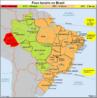A partir do dia 10 de novembro de 2013, por determina��o da Lei 12.876/2013 publicada no Di�rio Oficial da Uni�o em 31/10/2013, o estado do Acre e a parte ocidental do estado do Amazonas retornaram ao antigo fuso hor�rio, com duas horas a menos em rela��o ao hor�rio de Bras�lia.</br></br> A partir desta Lei, o Brasil passou a ter novamente 4 fusos hor�rios, sendo que:</br></br> O primeiro fuso engloba o arquip�lago de Fernando de Noronha e a ilha da Trindade (PE), com menos duas horas em rela��o � hora de Greenwich;</br></br> O segundo compreende o Distrito Federal, todos os estados das regi�es Sul, Sudeste e Nordeste, mais o estado de Goi�s (Regi�o Centro-Oeste) e os estados de Tocantins, Par� e Amap� (Regi�o Norte), com menos tr�s horas em rela��o a Greenwich.</br></br> O terceiro fuso est� localizado nos estados do Mato Grosso e Mato Grosso do Sul (Regi�o Centro-Oeste), Rond�nia, Roraima e o lado leste do estado do Amazonas (Regi�o Norte). </br></br> E o quarto fuso compreende o estado do Acre e o lado oeste do Amazonas (Regi�o Norte), que ter�o menos cinco horas em rela��o � hora de Greenwich.</br></br>Palavras-chave: Brasil. Fusos hor�rios. Meridiano de Greenwich.