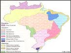 Mapa da Unesp sobre o relevo brasileiro, segundo a classifica��o de Aziz Ab'Saber, identificando os diversos tipos de relevo presentes no Brasil. </br></br> Palavras-chave: Mapas. Unesp. Brasil. Relevo. Aziz Ab'Saber.