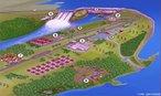 Mapa tur�stico da Usina Hidrel�trica de Itaipu com a localiza��o dos mirantes, ref�gios, museus e outros pontos de visita. Legenda: 1. Centro de Recep��o de Visitantes. 2. Mirante Central. 3. Bosque do Trabalhador. 4. Barragem. 5. Mirante da Margem Direita. 6. Canal da Piracema. 7. Ecomuseu. 8. Ref�gio Biol�gico Bela Vista. 9. Parque Tecnol�gico Itaipu. </br></br> Palavras-chave: Usina Hidrel�trica de Itaipu. Turismo. Museu. Ref�gio. Mirante. Barragem. Energia. Economia.
