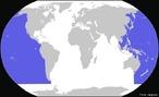 Localiza��o do Oceano Pac�fico. </br></br> Palavras-chave: Oceano Pac�fico. Localiza��o. Pa�ses. Navega��o.