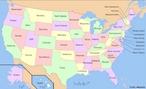 Os Estados Unidos est�o divididos em 50 Estados e um distrito federal, o Distrito de Columbia. Cada Estado, por sua vez, est� subdividido em condados, com excep��o da Louisiana, em que as subdivis�es se chamam &quot;par�quias&quot;, (parishes, em ingl�s) e do Alasca, onde as subdivis�es estaduais s�o chamadas de &quot;distritos&quot; (boroughs). </br></br> Palavras-chave: Estados Unidos. Mapa. Territ�rio. Subdvis�es. Economia. Pol�tica. Guerras.