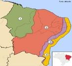 Sub-regi�es do Nordeste: 1 � Meio norte, 2 � Sert�o, 3 � Agreste e 4 � Zona da Mata </br></br> Palavras-chave: Economia. Clima. Vegeta��o. Relevo. Diversidade Clim�tica.