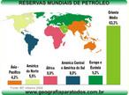 O mapa traz a localiza��o das reservas mundiais de petr�leo nos continentes. </br></br> Palavras-chave: Petr�leo. Mapa-M�ndi. Continentes. Localiza��o. Economia. Pol�tica. Guerras.