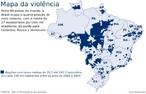 As �reas em azul apresentam alta incid�ncia de homic�dios. </br></br> Palavras-chave: Viol�ncia. Criminalidade. Homic�dios. Brasil. Urbaniza��o. Educa��o.