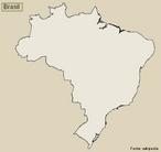 Mapa do Brasil - mudo. </br></br> Palavras-chave: Mapa Mudo do Brasil. Divis�o Pol�tica. Mapa do Brasil. Dimens�o Socioambiental. Lugar. Territ�rio. Regi�o. Dimens�o Econ�mica da Produ��o do e no Espa�o.