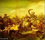 Detalhe de quadro a óleo sobre a Independência do Brasil, de François-René Moreaux, que hoje é conservado no Museu Imperial de Petrópolis. Foi executado em 1844, a pedido do Senado imperial. </br></br> Palavras-chave: Colônia. Independência do Brasil.