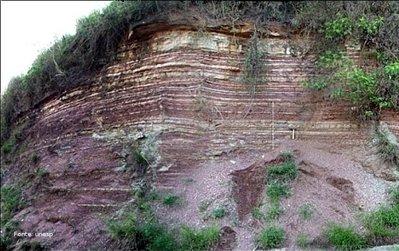 A Formação Corumbataí é formada por argilitos de coloração arroxeada ou avermelhada com intercalações de lentes de arenitos muito finos, xistos argilosos de vasta ocorrência no vale do Rio Corumbataí. É constituída por siltitos cinza escuro a preto, argilitos e folhelhos cinza escuro a roxo, maciços, exibindo fraturas conchóide, e parte superior composta pela intercalação de argilitos, folhelhos e siltitos arroxeados a avermelhados, com intercalações carbonáticas e camadas de arenitos muito finos. Os leitos carbonáticos existentes são, por vezes, ricos em oólitos e fragmentos de conchas. </br></br> Palavras-chave: Dimensão Socioambiental. Argilitos. Xistos. Território. Rochas. Afloramento. Formação Corumbataí. Solo. Relevo.