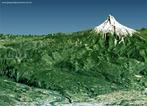 Imagem em 3D da Cadeia da Costa e rio Colorado em <em>Portland</em>. </br></br> Palavras-chave: Cadeia de Montanhas. Cadeia da Costa. Rio Colorado. Portland. Estados Unidos. Relevo.