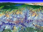 Imagem em 3D do <em>Grand Canyon</em>, no estado do Colorado, localizado nos Estados Unidos. </br></br> Palavras-chave: Grand Canyon. Colorado. Estados Unidos. Geologia. Relevo. Erosão.