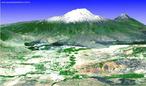 Imagem em 3D do Monte <em>Ararat</em> na Turquia. </br></br> Palavras-chave: Monte Ararat. Turquia. Geologia. Relevo.