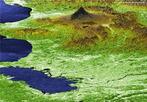 Imagem em 3D do Monte <em>Fugi</em>. É a mais alta montanha da Ilha de Honshu e de todo Japão e a 35ª mais alta do mundo. É um vulcão ativo, porém de baixo risco de erupção. </br></br> Palavras-chave: Monte Fugi. Japão. Ásia. Geologia. Relevo.