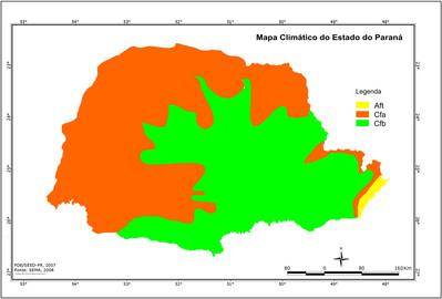 O clima paranaense é predominantemente subtropical úmido. A temperatura varia entre 14°C e 22°C, e o clima é mais frio na porção sul dos planaltos do interior. Os índices pluviométricos variam entre 1.500 mm a 2.500 mm anuais.  </br></br> De acordo com a classificação de Köppen, no Estado do Paraná dominam os climas do tipo C (Mesotérmico) e o clima do tipo A (Tropical Chuvoso), subdivididos da seguinte forma: </br></br>  Aft – Clima Tropical Superúmido (Tropical Chuvoso) Com média do mês mais quente acima de 22ºC e do mês mais frio superior a 18ºC, sem estação seca e isento de geadas. Aparece em todo o litoral e na porção oriental da Serra do Mar.</br></br> Cfa – Clima Subtropical Úmido (Mesotérmico) Com média do mês mais quente superior a 22ºC e no mês mais frio inferior a 18ºC, sem estação seca definida, verão quente e geadas menos freqüentes. Distribuindo-se pelo Norte, Centro, Oeste e Sudoeste do Estado, como também pelo vale do Rio Ribeira. </br></br> Cfb – Clima Temperado Úmido (Mesotérmico) Com média do mês mais quente inferior a 22ºC e do mês mais frio inferior a 18ºC, não apresenta estação seca, verão brando e geadas severas e freqüentes. Distribui-se pelas terras mais altas dos planaltos e das áreas serranas (Planaltos de Curitiba, Campos Gerais, Guarapuava, etc.)</br></br>Palabras-chave: Paraná. Clima. Relevo. Clima Subtropical Úmido. Clima Tropical Superúmido. Clima Temperado Úmido. Classificação de Köppen.